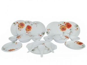 Designer Melamine Flower Printed Dinner Set-32 PCs (assorted Design)