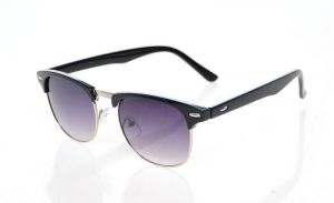EDGE Plus Clubmaster Black Sunglasses With Purple Lenses For Men