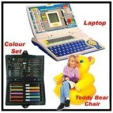 Kids Laptop Teddy Chair Colouring Set