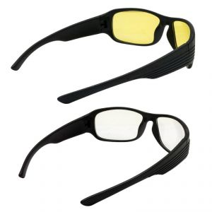 Quoface Day And Night Vision Multi-coloured Sunglass Bike Goggles - Pack Of 2