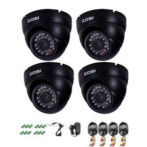 "Security Cameras - Zosi 4 Pack 1/3"" 900tvl 960h High Resolution Security Surveillance Cctv Camera Kit HD Had IR Cut 3.6mm Lens Outdoor Dome Weatherproof"