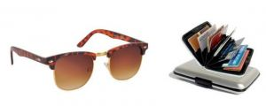 Clubmaster Sunglasses Brown & Golden With Aluma Wallet For Men & Women
