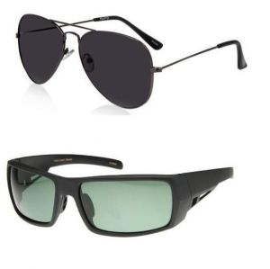 Buy1 Get 1 Free - Black Gradient Aviators And Wraparound Sports Sunglasses