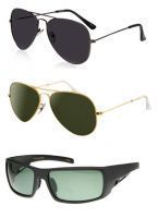 Amazing 3 Sunglass Combo - Black And Golden Aviators, Sports Sunglasses