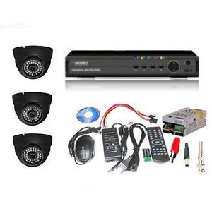 Set Of 3 Night Vision Cctv Cameras And 4 Ch Dvr With All Required Connector