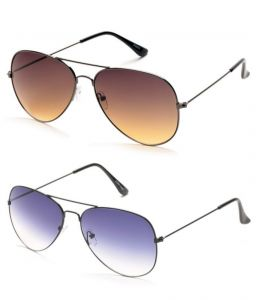 Magjons Brown And Purple Aviator Sunglasses Combo