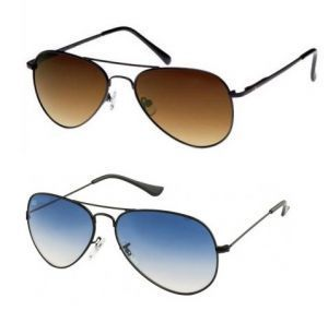 Set Of 2 -brown & Blue Aviator Style Sunglasses Combo