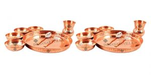 Set Of 2 Pure Copper Thali Dinner Set - 8 Pieces Each - Serving Food Dinner - Home Hotels Restaurants