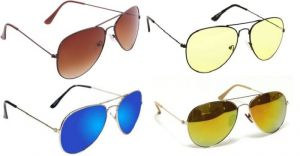 Sunglass Combo - Brown S Yellow 2 Shade ,green Mercury ,blue Mercury