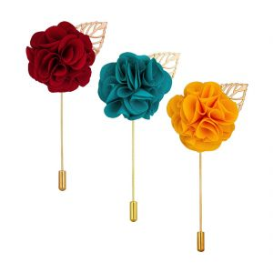 Visach Combo Of Men Party Wear Multicolored Flower Brooch / Lapel Pin Boutonniere For Suit (code - Vs_ac_combo_1)