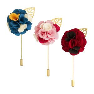 Visach Men Party Wear Multicolored Flower Brooch / Lapel Pin Boutonniere For Suit (pack Of 3) (code - Vs_ac_combo_123)