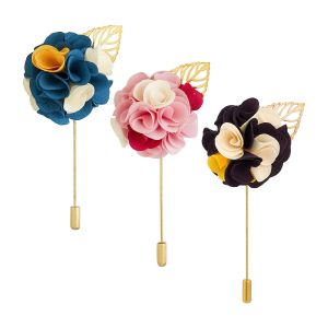 Visach Men Party Wear Multicolored Flower Brooch / Lapel Pin Boutonniere For Suit (pack Of 3) (code - Vs_ac_combo_125)