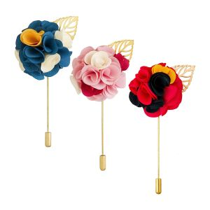 Visach Men Party Wear Multicolored Flower Brooch / Lapel Pin Boutonniere For Suit (pack Of 3) (code - Vs_ac_combo_126)