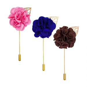 Visach Combo Of Men Party Wear Multicolored Flower Brooch / Lapel Pin Boutonniere For Suit (code - Vs_ac_combo_2)
