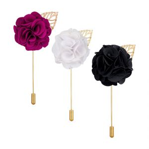 Visach Combo Of Men Party Wear Multicolored Flower Brooch / Lapel Pin Boutonniere For Suit (code - Vs_ac_combo_3)
