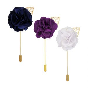 Visach Combo Of Men Party Wear Multicolored Flower Brooch / Lapel Pin Boutonniere For Suit (code - Vs_ac_combo_4)