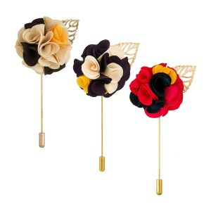 Visach Men Party Wear Multicolored Flower Brooch / Lapel Pin Boutonniere For Suit (pack Of 3) (code -vs_ac_combo_456)