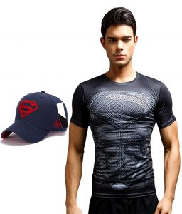 Superman Dry Fit 3d Gym Compression T-shirt With Baseball Cap Free For Men By Visach (code - Vs_cc_cap_combo_25)