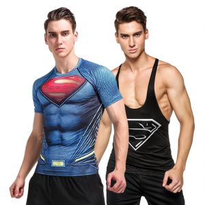 3d Compression Tank Top And Dry Fit Gym T-shirt By Visach Comic Collection (code - Vs_cc_combo_107)