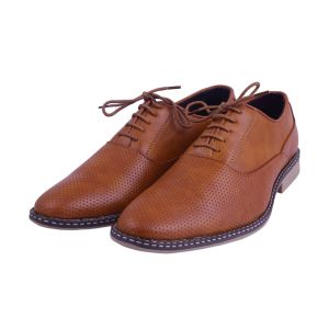 Visach Men Lace Up Tan Formal Shoes