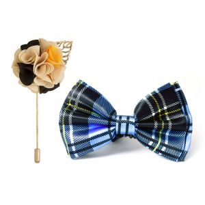 Visach Combo Of Men Party Wear Accessories Combo Stylish Bow Tie With Lapel Pin Boutonniere For Suit (code - Vs_nblp_combo_10)