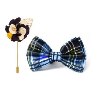 Visach Combo Of Men Party Wear Accessories Combo Stylish Bow Tie With Lapel Pin Boutonniere For Suit (code - Vs_nblp_combo_11)