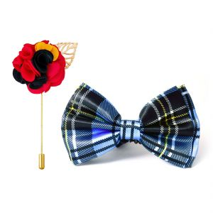 Visach Combo Of Men Party Wear Accessories Combo Stylish Bow Tie With Lapel Pin Boutonniere For Suit (code - Vs_nblp_combo_12)
