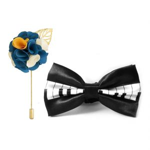 Visach Combo Of Men Party Wear Accessories Combo Stylish Bow Tie With Lapel Pin Boutonniere For Suit (code - Vs_nblp_combo_13)