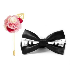 Visach Combo Of Men Party Wear Accessories Combo Stylish Bow Tie With Lapel Pin Boutonniere For Suit (code - Vs_nblp_combo_14)