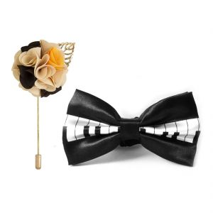 Visach Combo Of Men Party Wear Accessories Combo Stylish Bow Tie With Lapel Pin Boutonniere For Suit (code - Vs_nblp_combo_16)