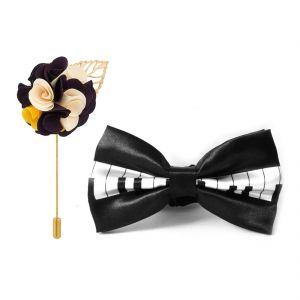 Visach Combo Of Men Party Wear Accessories Combo Stylish Bow Tie With Lapel Pin Boutonniere For Suit (code - Vs_nblp_combo_17)