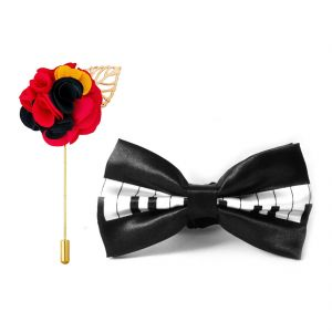Visach Combo Of Men Party Wear Accessories Combo Stylish Bow Tie With Lapel Pin Boutonniere For Suit (code - Vs_nblp_combo_18)