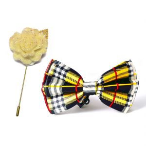 Visach Combo Of Men Party Wear Accessories Combo Stylish Bow Tie With Lapel Pin Boutonniere For Suit (code - Vs_nblp_combo_19)