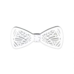 Visach Acrylic Designer Neck Bows For Men (code - Vs_nbow_127_white)
