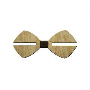 Visach Wooden Designer Neck Bows For Men (code - Vs_nbow_130_woodencream)