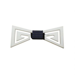 Visach Acrylic Designer Neck Bows For Men (vs_nbow_147_white)