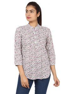 Shirts (Women's) - Visach Solid Printed Shirt_Vs_Sht8002_Pnk