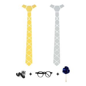 Visach Designer Tie With Three Free Accessories For Men (code - Vs_tie_223-gldn-silver)