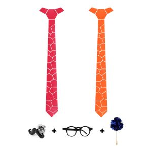 Visach Designer Tie With Three Free Accessories For Men (code - Vs_tie_228-pink-orng)