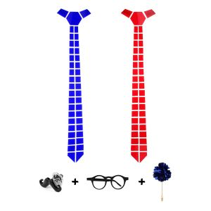 Visach Designer Tie With Three Free Accessories For Men (code - Vs_tie_246-blu-red)