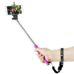 Blueberry Mobile Phones, Tablets - Universal Mobile Selfie Stick Foldable with Aux Cable Black