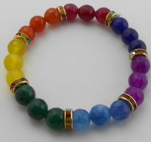 Bright Seven 7 Chakra Natural Stones Faceted Bracelet 8 MM