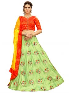 Ravechi Fab Light Green Elephant & Horse Style Embroidered Lehenga Choli (code - Rbcl-01)