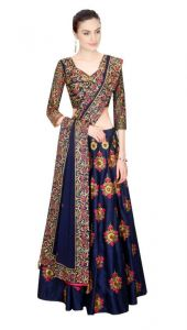 Chaniya, Ghagra Cholis - Helix Enterprise Navy Blue Heavy Embroidered Lahenga Choli By ,hkzl-07