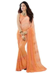 Vandv New Orange Nazneen Chiffon Designer Saree-saree330-9007