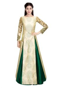 Cream & Green Floral Pot Designer Suit (kzl-21)