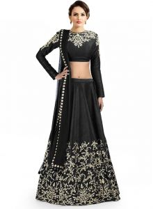 Chaniya, Ghagra Cholis - Ravechi Black Beautiful Designer Lahenga Choli-Rfl-10