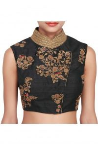 Designer Saree Blouses - Ravechi's Sea-Blue Embriodered Round-Neck Blouse Material -Rfzb-03