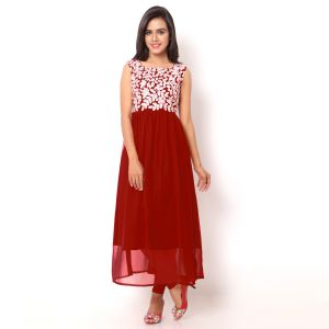 Anarkali Suits (Unstitched) - Ravechi's Red Colour Georgette Embroidered Semi Stitched Kurti   -Rfzw-001