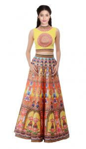 New Yellow Digital Printed Lahenga Choli(kzl-024)